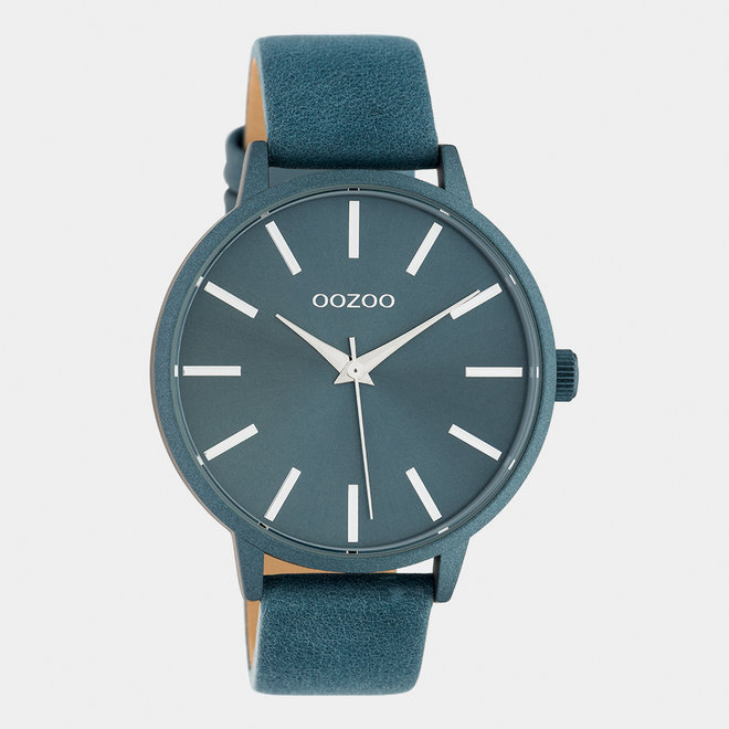 OOZOO Timepieces - dames - leren band blauw / blauw