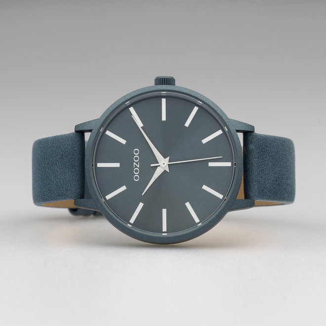OOZOO Timepieces - femmes - bracelet en cuir bleu met bleu horlogekast
