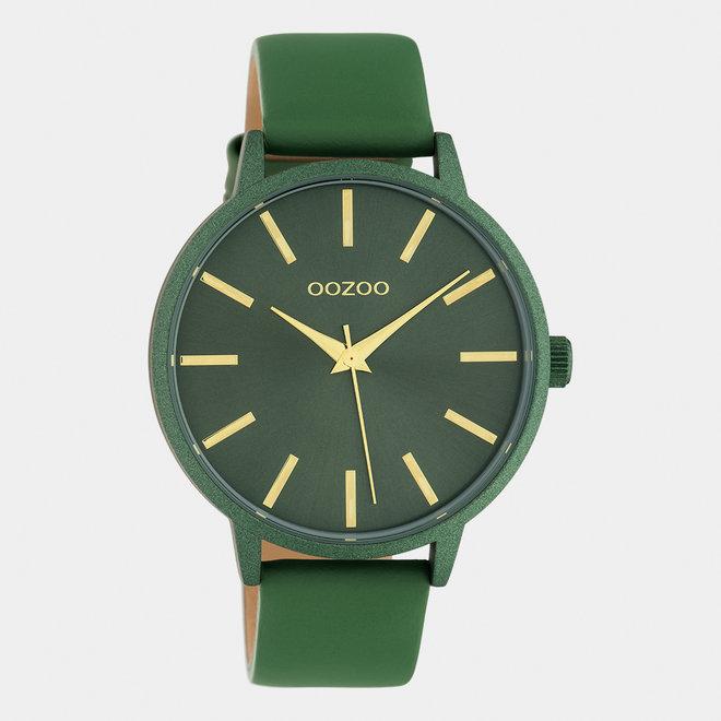 OOZOO Timepieces - dames - leren band olijf / olijf