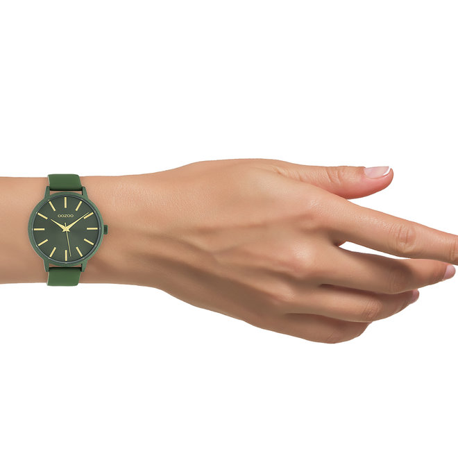 OOZOO Timepieces - ladies - leather strap olive with olive watch case
