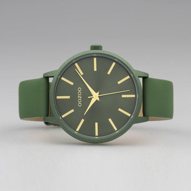 OOZOO Timepieces - dames - leren band olijf met olijf horlogekast
