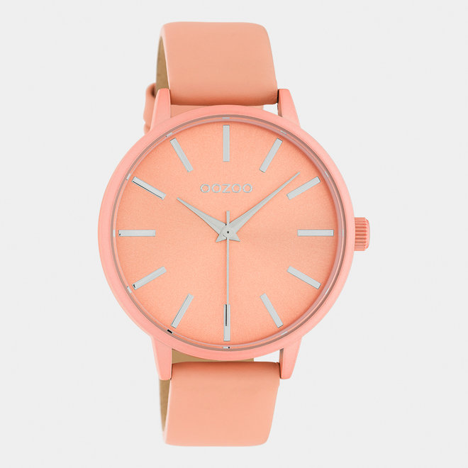 OOZOO Timepieces - dames - leren band zacht roze met zacht roze horlogekast