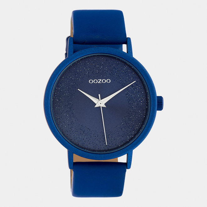 OOZOO Timepieces - dames - leren band klassiek blauw / klassiek blauw
