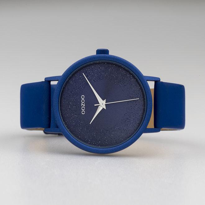 OOZOO Timepieces-ladies- bracelet en cuir bleu classique avec boîtier de montre bleu classique