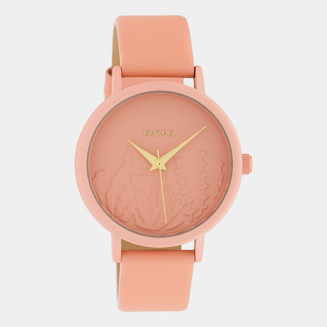 OOZOO Timepieces - dames - leren band zacht roze / zacht roze