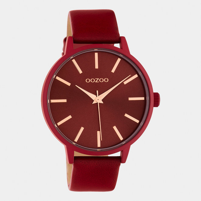 OOZOO Timepieces - dames - leren band chili peper / chili peper