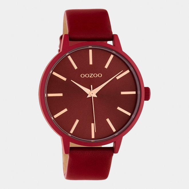 OOZOO Timepieces - femmes - bracelet en cuir rouge piment / rouge piment