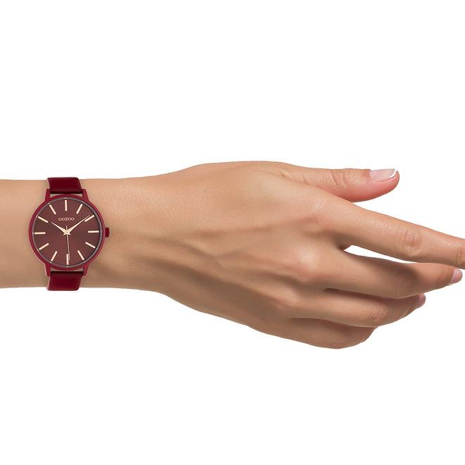 OOZOO Timepieces - femmes - bracelet en cuir rouge piment met rouge piment horlogekast