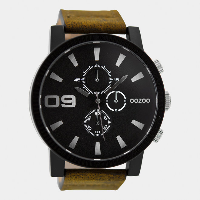 OOZOO Timepieces-hommes-bracelet en cuir marron / noir