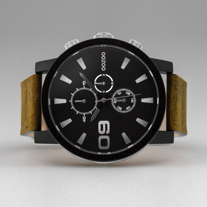 OOZOO Timepieces-hommes-bracelet en cuir marron avec boîtier de montre noir