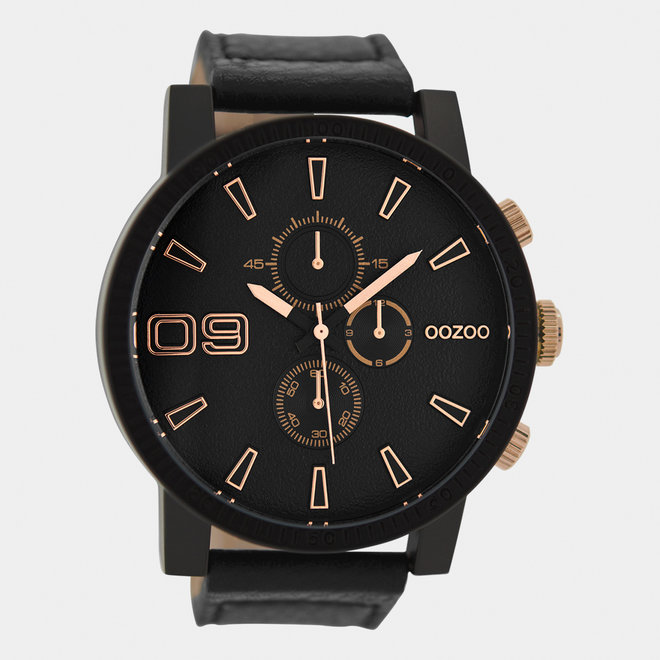 OOZOO Timepieces-hommes-bracelet en cuir noir / noir