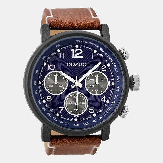 OOZOO Timepieces - heren - leren band cognac / zwart