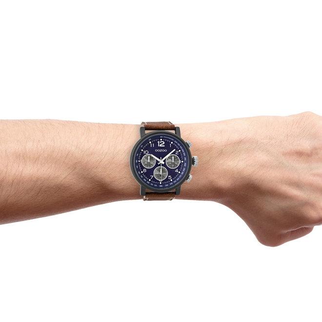 OOZOO Timepieces - heren - leren band cognac met zwart horlogekast