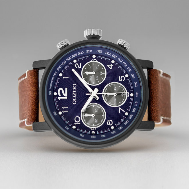 OOZOO Timepieces - gents - leather strap cognac with black watch case