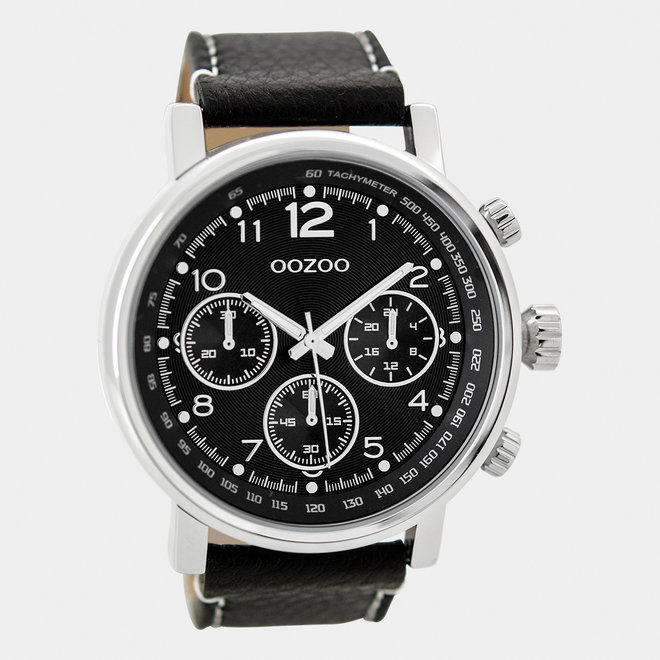 OOZOO Timepieces - gents - leather strap black / silver