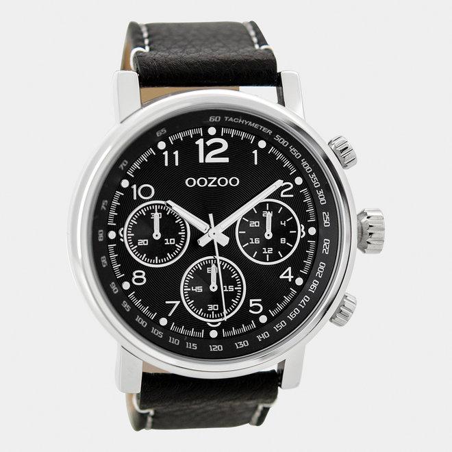 OOZOO Timepieces-hommes-bracelet en cuir noir / argent