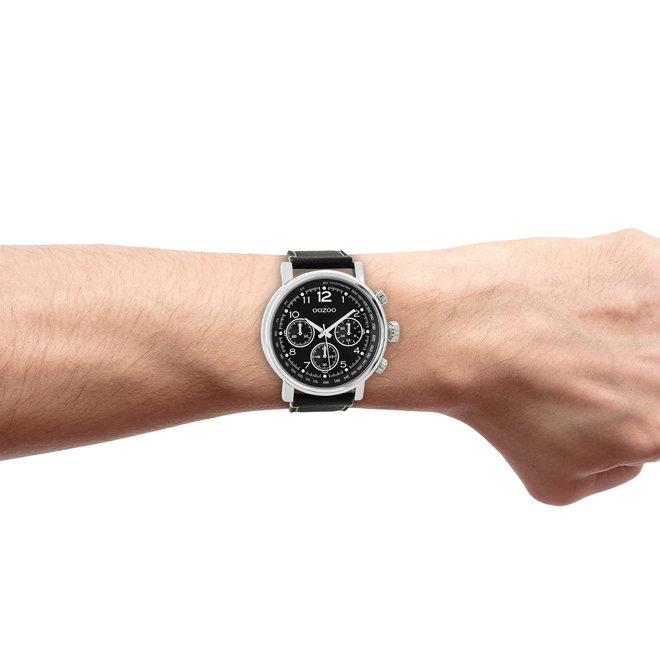 OOZOO Timepieces-hommes-bracelet en cuir noir avec boîtier argenté