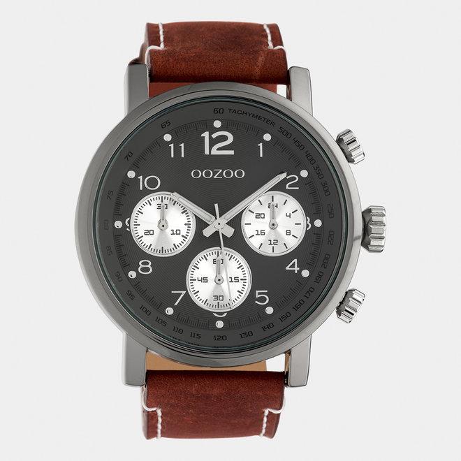OOZOO Timepieces - heren - leren band bruin / titanium