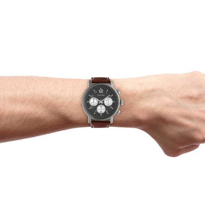 OOZOO Timepieces - hommes - bracelet en cuir marron met titane horlogekast