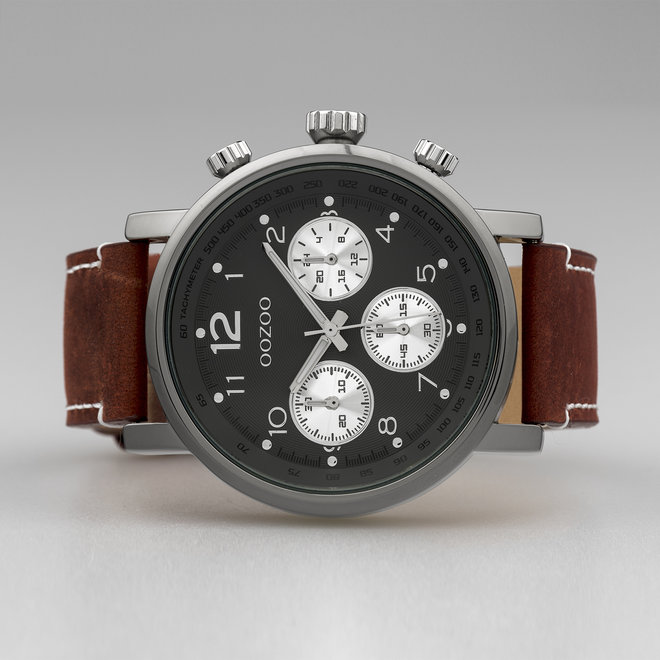 OOZOO Timepieces - gents - leather strap brown with titanium watch case