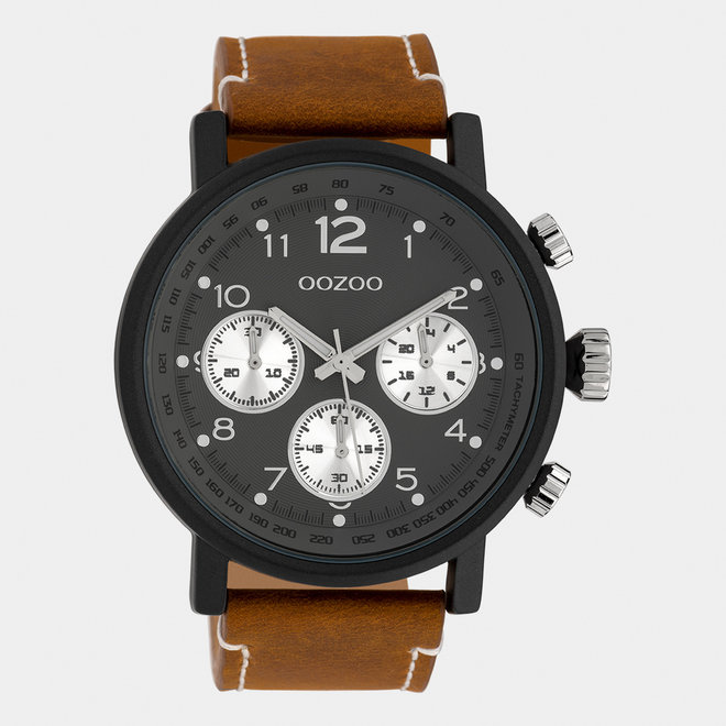 OOZOO Timepieces - gents - leather strap mid brown / black