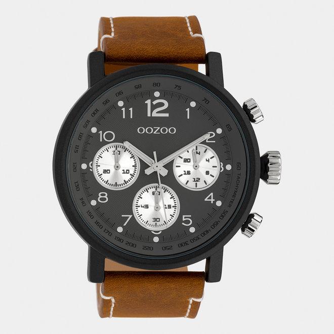 OOZOO Timepieces - heren - leren band mid bruin / zwart