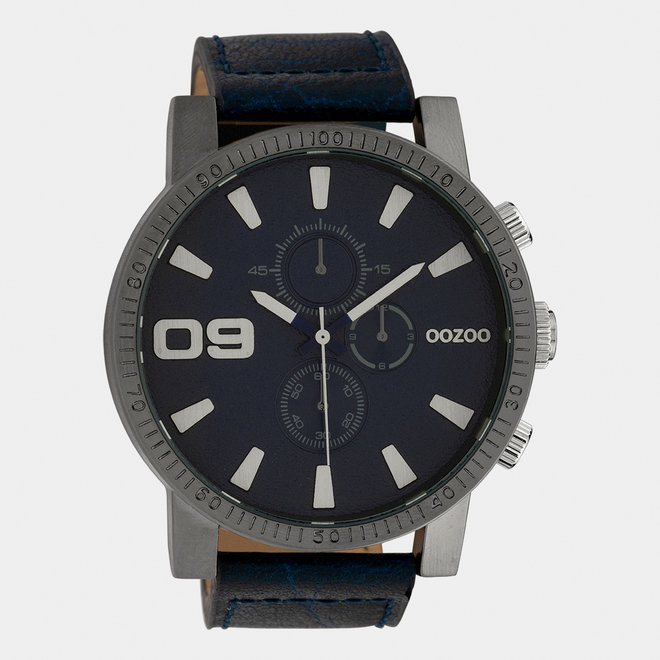 OOZOO Timepieces - heren - leren band jeans / titanium