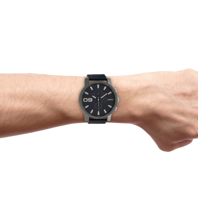 OOZOO Timepieces - heren - leren band jeans met titanium horlogekast