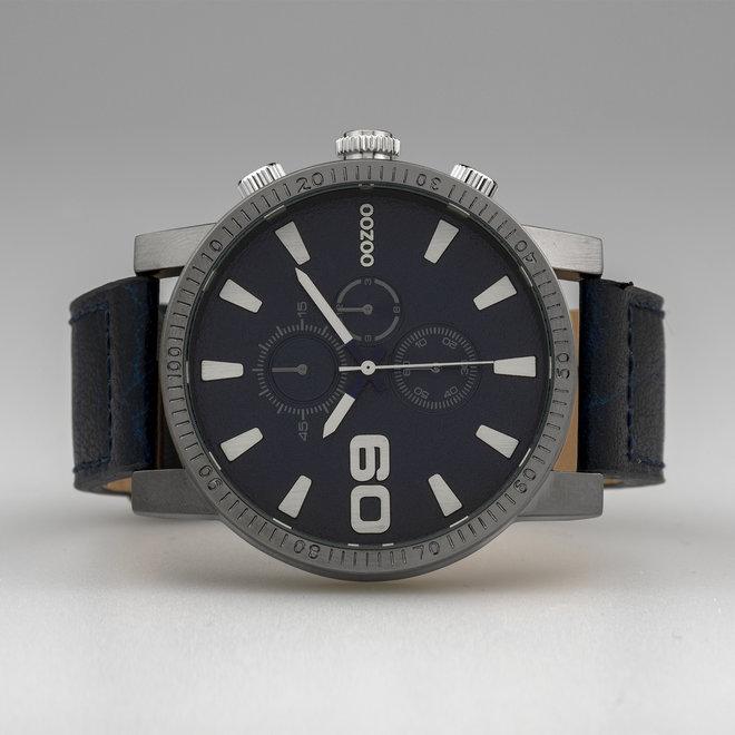 OOZOO Timepieces - hommes - bracelet en cuir jeans met titane horlogekast