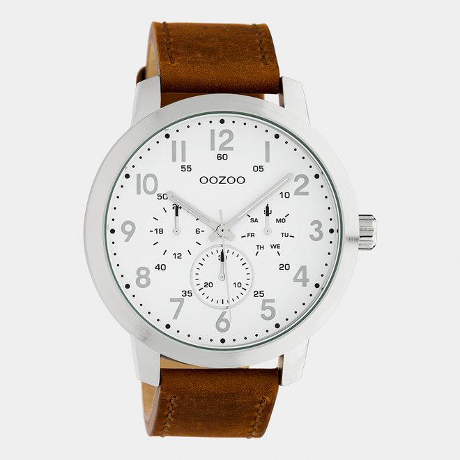 OOZOO Timepieces - hommes - bracelet en cuir marron / argent