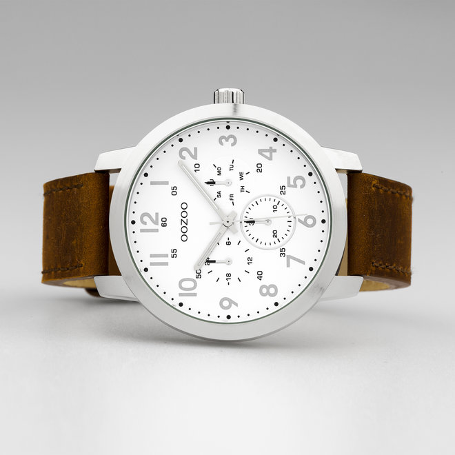 OOZOO Timepieces - gents - leather strap brown with silver watch case