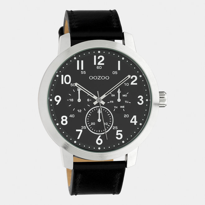 OOZOO Timepieces - heren - leren band zwart / zilver