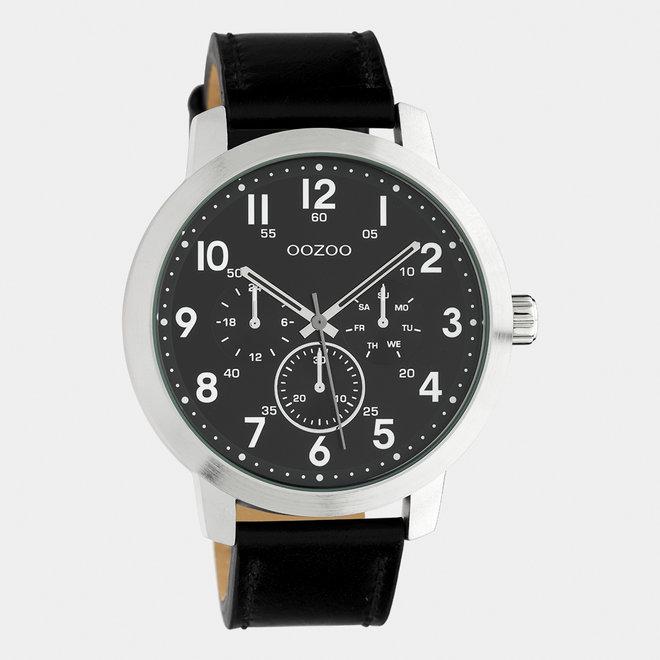 OOZOO Timepieces - hommes - bracelet en cuir noir / argent