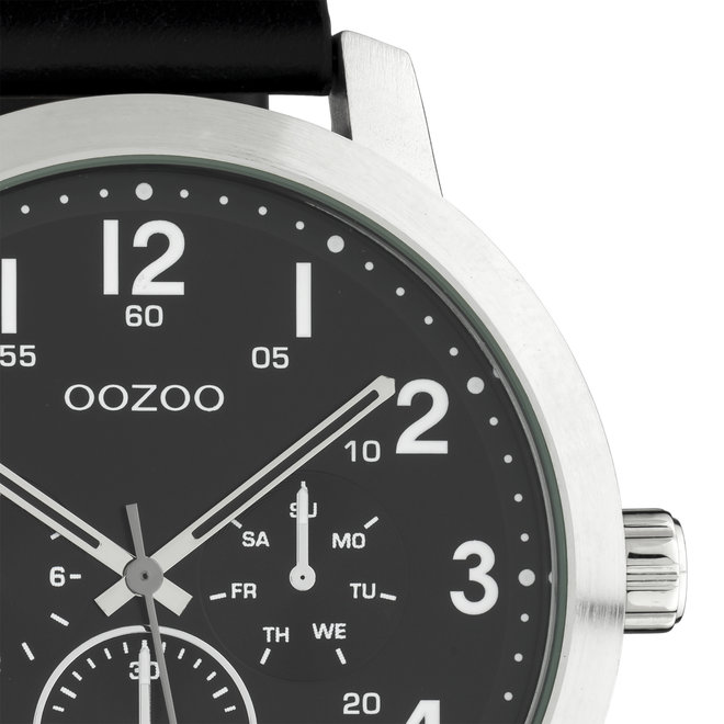 OOZOO Timepieces - hommes - bracelet en cuir noir met argent horlogekast