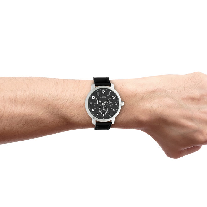 OOZOO Timepieces - gents - leather strap black with silver watch case