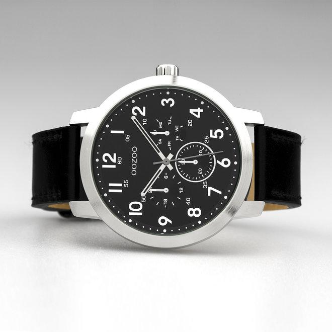 OOZOO Timepieces - heren - leren band zwart met zilver horlogekast