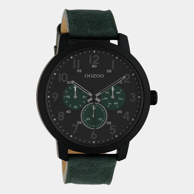 OOZOO Timepieces - heren - leren band groen / zwart