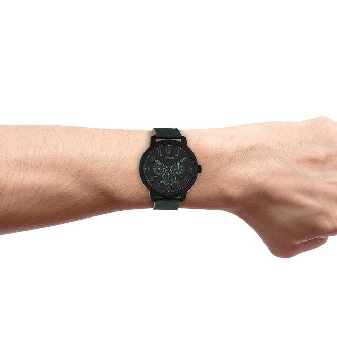 OOZOO Timepieces - heren - leren band groen met zwart horlogekast