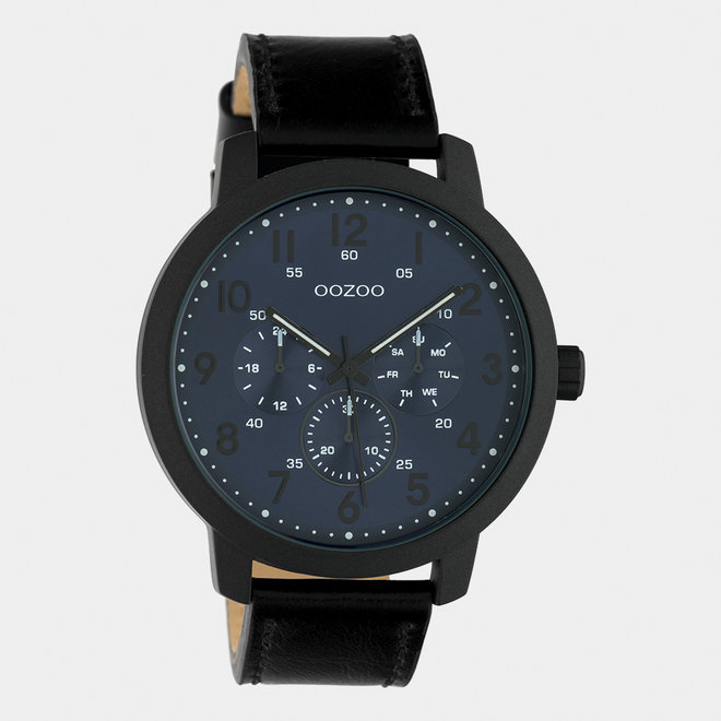 OOZOO Timepieces - hommes - bracelet en cuir noir met noir horlogekast