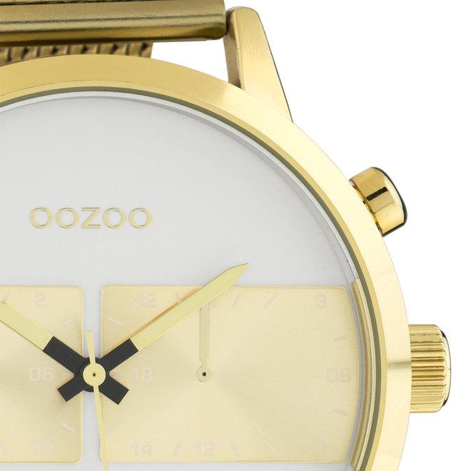 OOZOO Timepieces - heren - mesh band goud met goud horlogekast