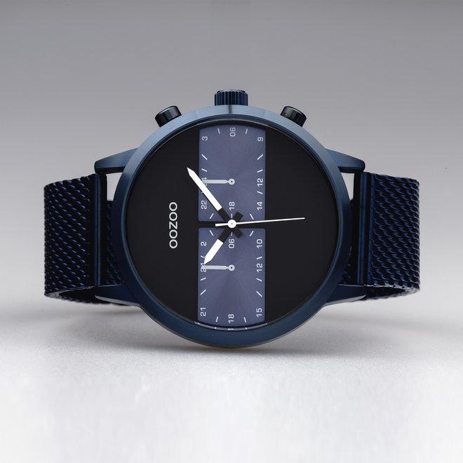 OOZOO Timepieces - hommes - bracelet en mesh bleu met bleu horlogekast