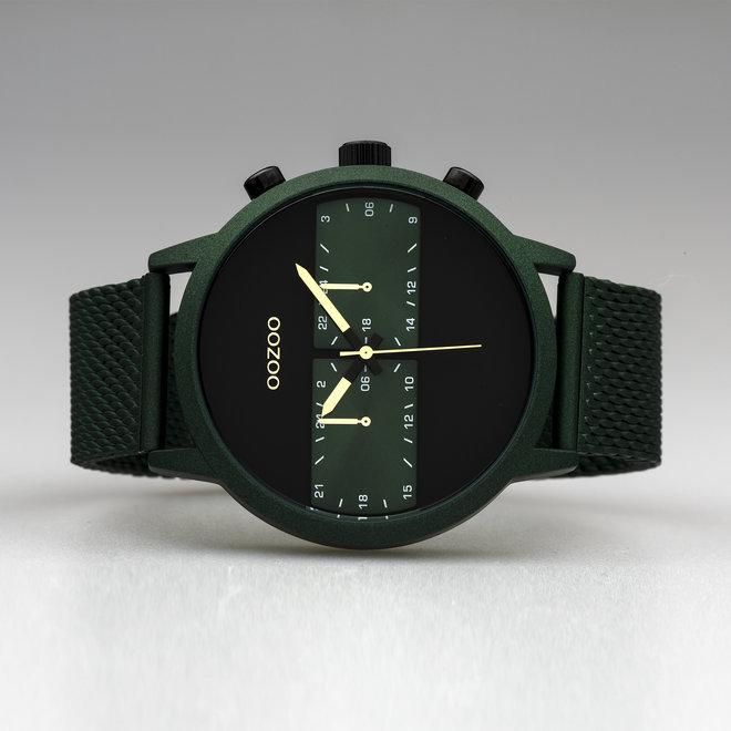 OOZOO Timepieces - heren - mesh band groen met groen horlogekast
