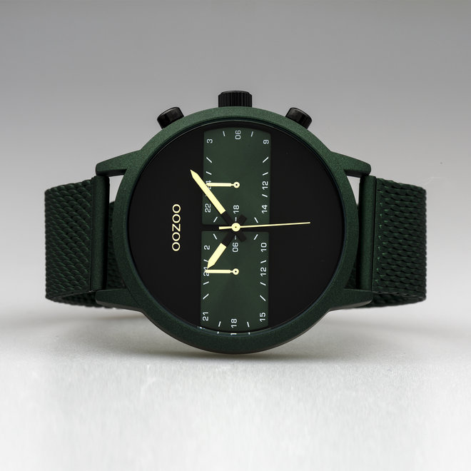 OOZOO Timepieces - hommes - bracelet en mesh vert met vert horlogekast
