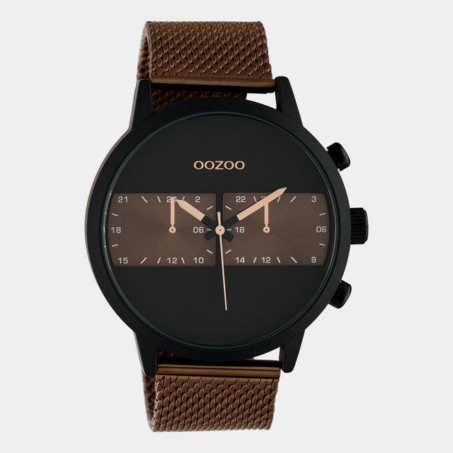 OOZOO Timepieces - heren - mesh band bruin / zwart