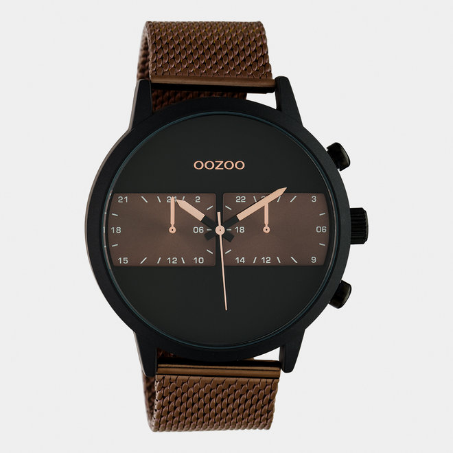 OOZOO Timepieces - hommes - bracelet en mesh marron / noir