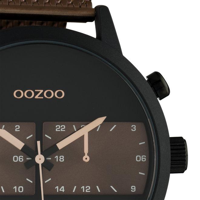 OOZOO Timepieces - hommes - bracelet en mesh marron met noir horlogekast