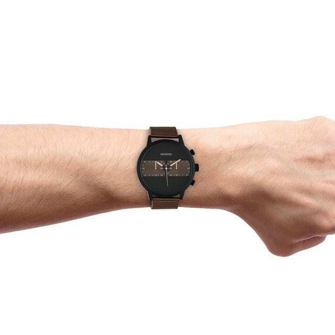 OOZOO Timepieces - gents - mesh strap brown with black watch case