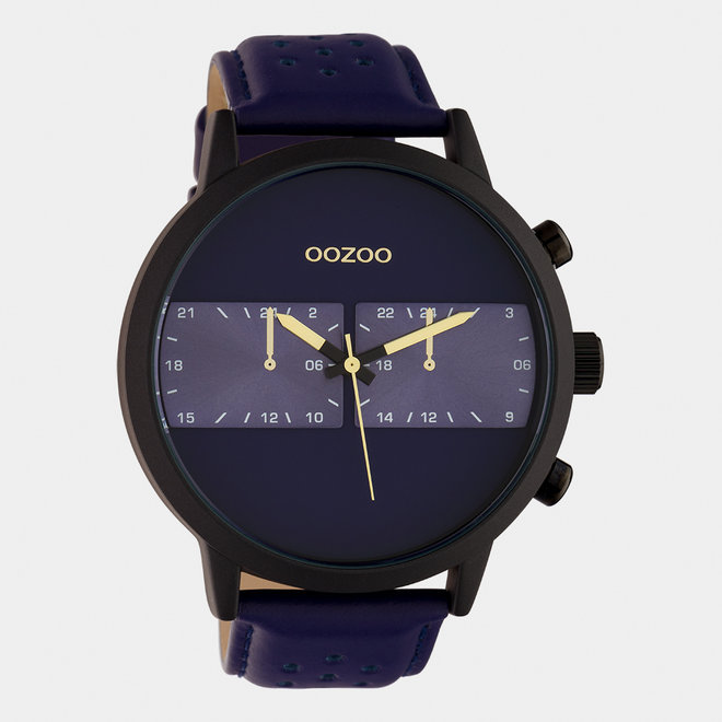 OOZOO Timepieces - gents - leather strap blue / black