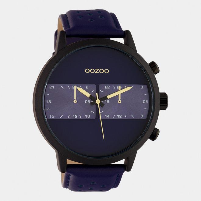 OOZOO Timepieces - hommes - bracelet en cuir bleu / noir