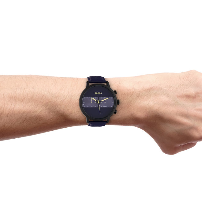 OOZOO Timepieces - gents - leather strap blue with black watch case